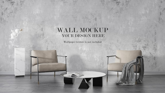 Wall mockup behind metal frame armchairs