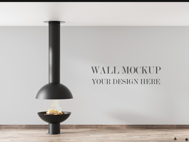Wall mockup of minimalist interior design with fireplace