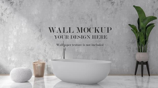Wall mockup behind modern bathtub