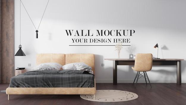 Wall mockup modern bedroom