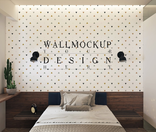 Wall mockup  in modern contemporary bedroom