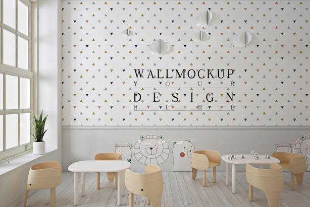 Wall mockup in modern contemporary kindergarten