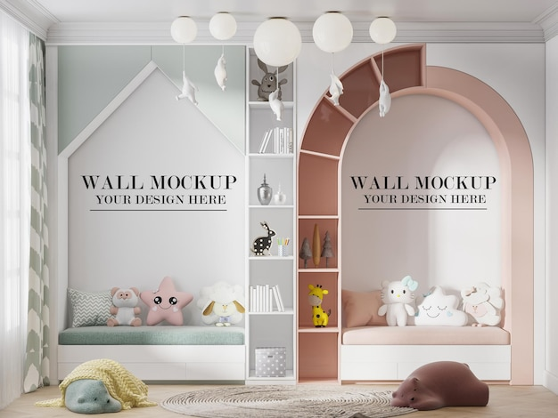 Wall mockup in modern design child bedroom