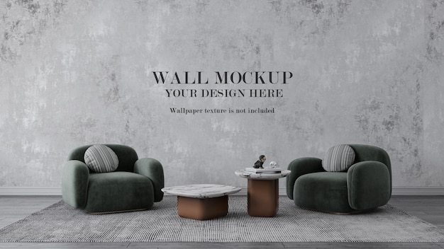 Wall mockup behind modern green armchairs