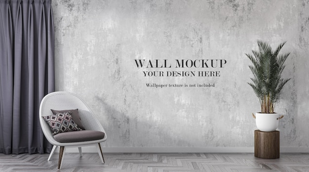 Wall mockup in modern interior