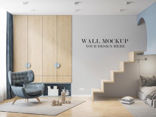 3dレンダリングの壁モックアップモダンなリビングルーム