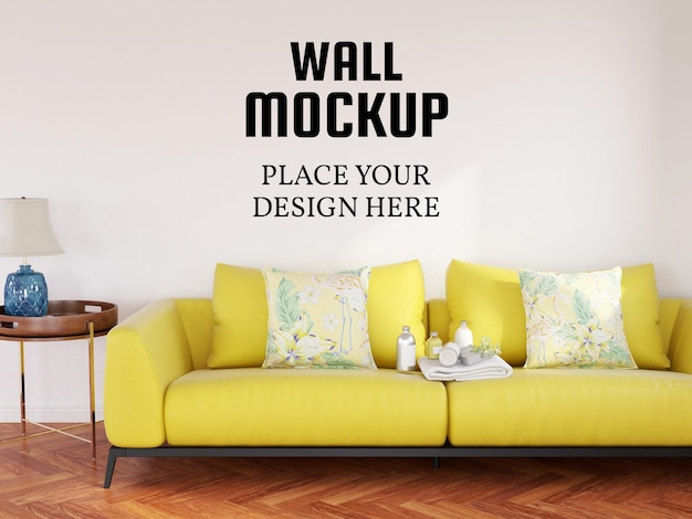 Wall mockup in the modern living room