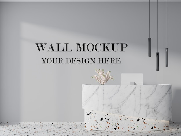 Wall mockup for modern office reception