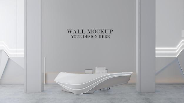 Wall mockup behind modern reception desk