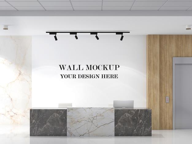 Wall mockup in modern reception with minimalist design