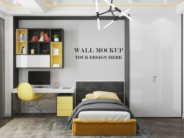 Wall mockup in modern room with minimalist design