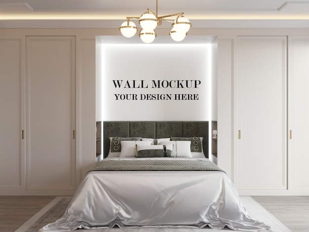 Wall mockup in modern room with minimalist design
