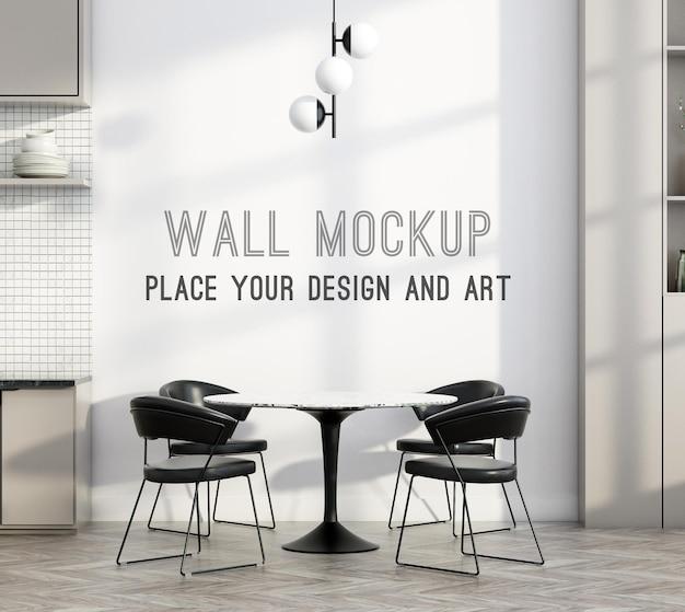 Макет стены на стене с тенью и минималистичная столовая с кухней
