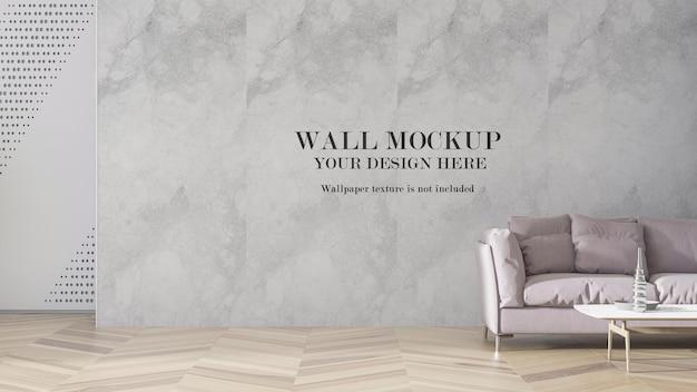 Wall mockup behind pale pink sofa