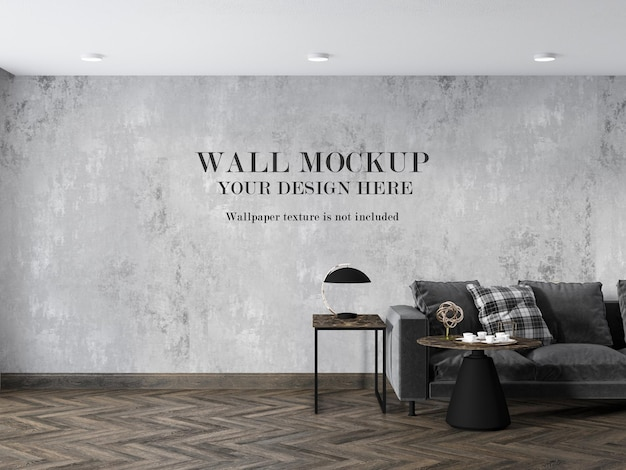 Wall mockup in parquet floor living room with minimalist furniture