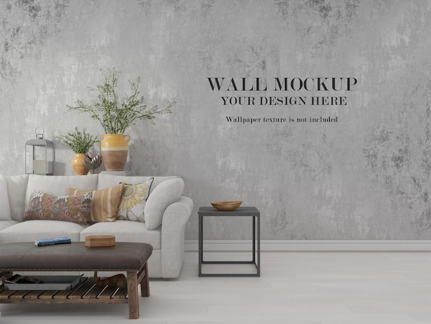 Wall mockup behind plants and couch