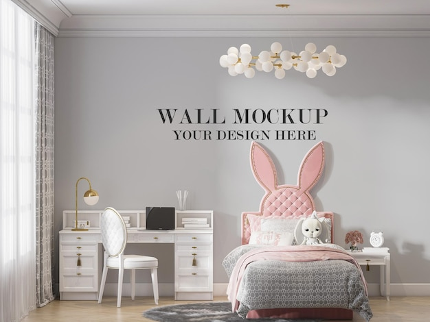 Wall mockup behind rabbit ear shaped bed in 3d rendering Premium Psd