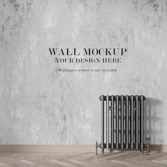 Wall mockup behind radiator with minimalist furniture Premium Psd