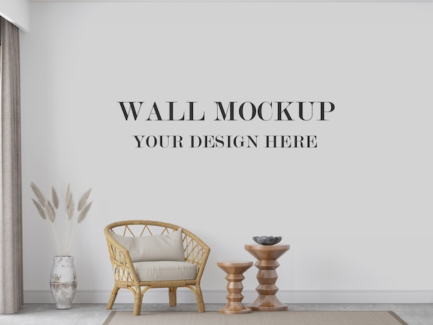Wall mockup behind rattan chair and decorations