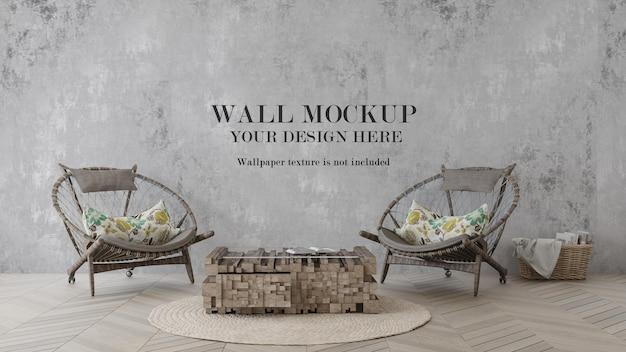 Wall mockup behind rattan furniture