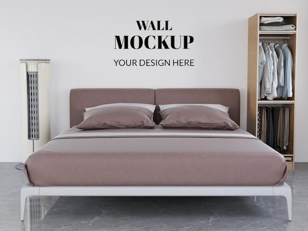 壁のモックアップリアルなインテリアモダンなベッドルーム