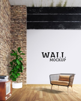 Wall mockup - the room is industrial style
