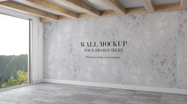 Wall mockup in room with large window