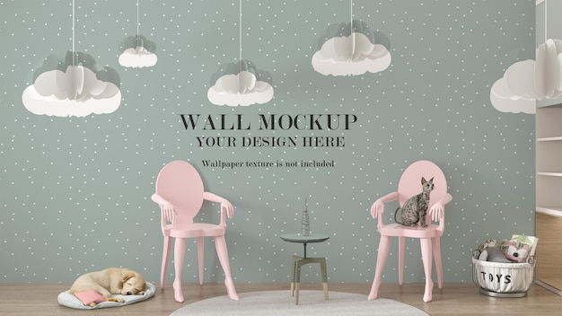 Wall mockup in scene with cat and sleeping dog