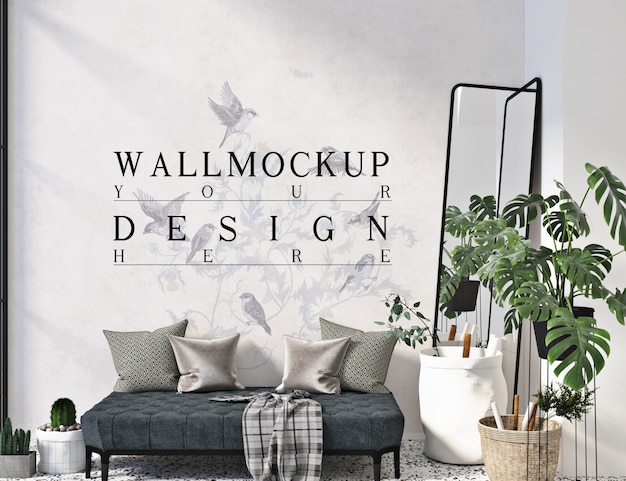 Wall mockup in simple modern livingroom with sofa bench