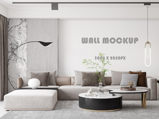 Wall mockup behind a soft sofa in a bright living room