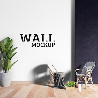 壁のモックアップ-2つのリラックスできる椅子のあるスペース