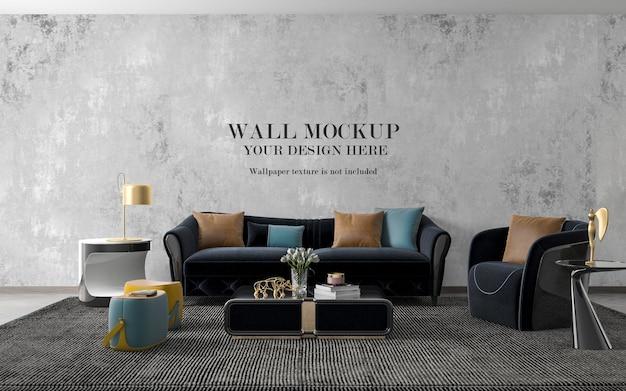 Wall mockup in stylish interior with navy blue sofa set