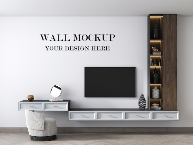 Wall mockup behind stylish tv cabinet 3d render