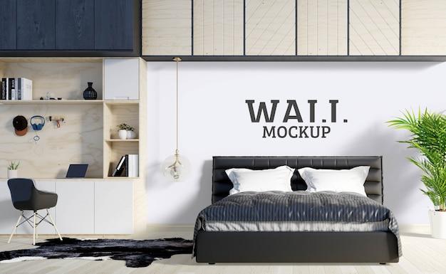 壁のモックアップ-ベッドルームにはモダンな食器棚と棚があります