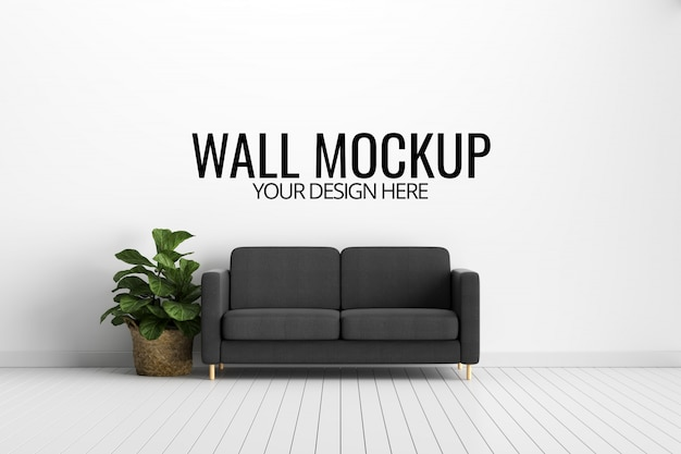Wall mockup in white interior with sofa and decoration