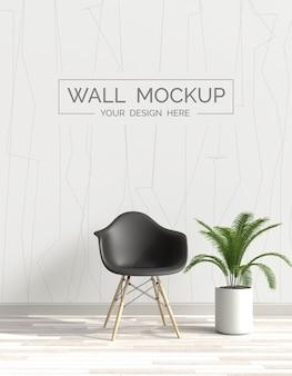 椅子と植物の壁のモックアップ