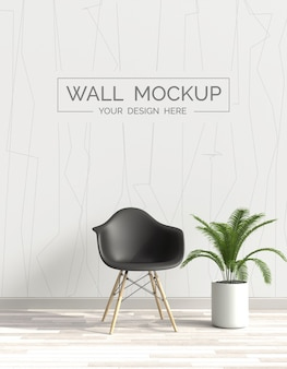 Wall mockup with chair and plant