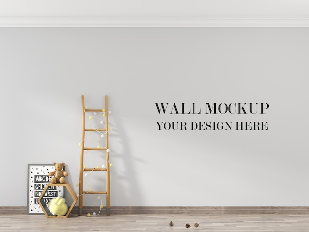 Wall mockup with child room and toys and ladder