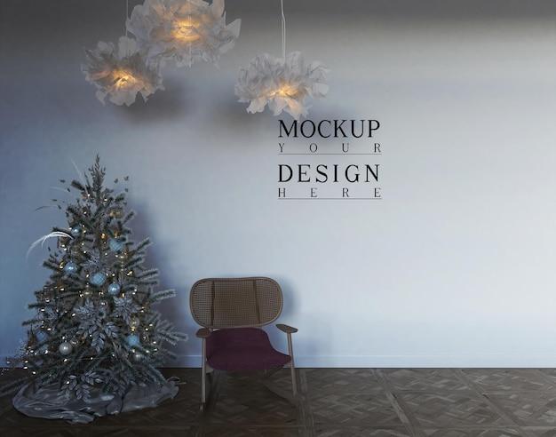 クリスマスの装飾とプレゼントの壁のモックアップ