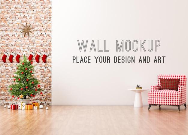 Макет стены с елкой и красным диваном в клетку в комнате