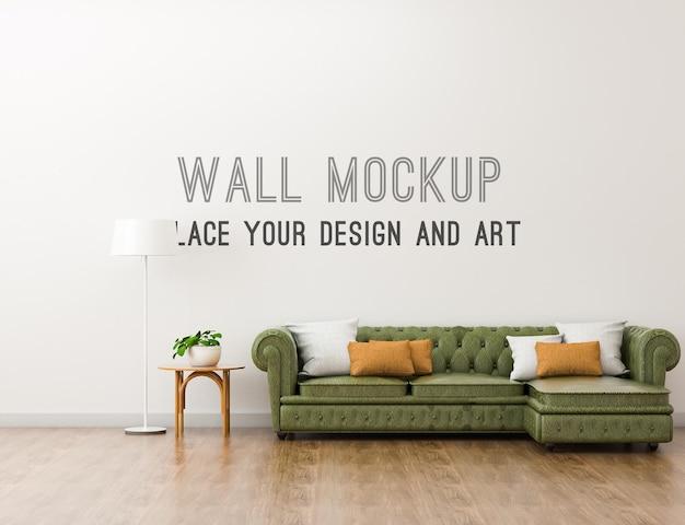 Макет стены с кожаным диваном в теплой гостиной