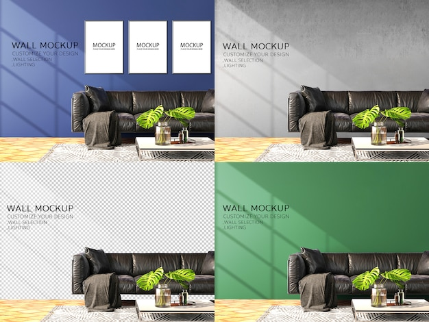 Wall mockup with leather sofa and wooden floor in modern style