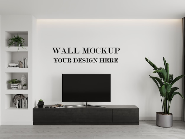 Wall mockup with tv and cabinet 3d render