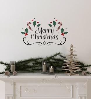 木製のクリスマスツリーと装飾が施された壁のモックアップ
