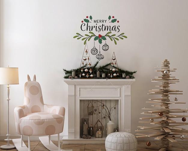 木製のクリスマスツリー、装飾、プレゼントの壁のモックアップ