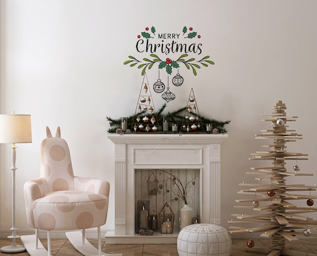Wall mockup with wooden christmas  tree, decoration and present