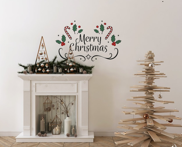 Wall mockup with wooden christmas  tree, decoration and presents