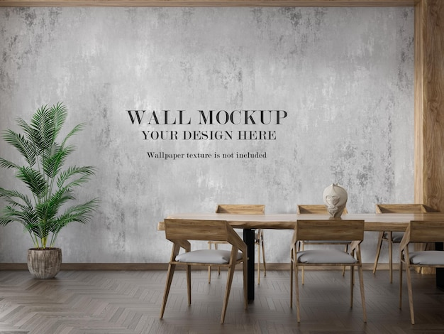 Wall mockup with wooden furniture in interior
