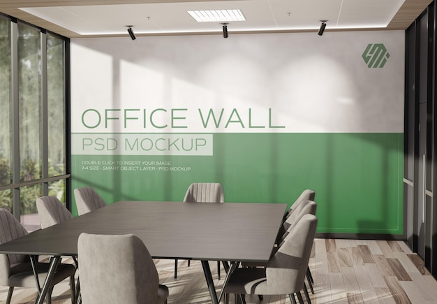 Wall in modern sunny office interior murale mockup