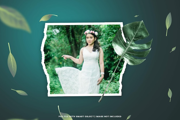 Wall moodboard mockup with leaf torn photo frame card collage